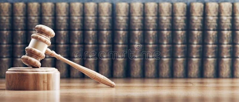 法律的法官的惊堂木、概念和正义,3d回报例证 库存例证