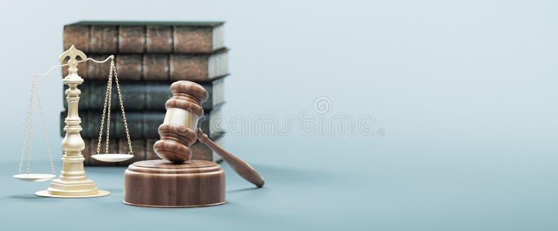 法律的法官的惊堂木、概念和正义,3d回报例证 皇族释放例证