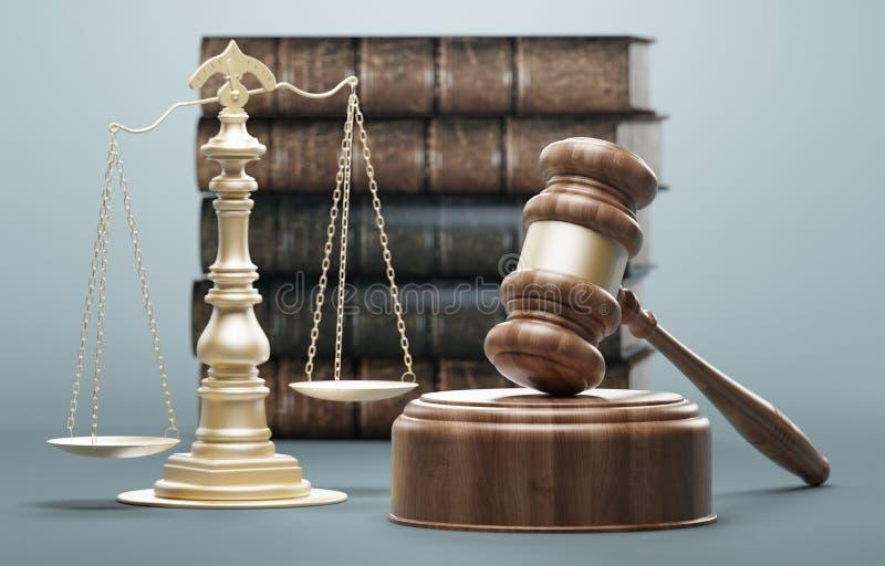 法律的法官的惊堂木、概念和正义,3d回报例证 向量例证