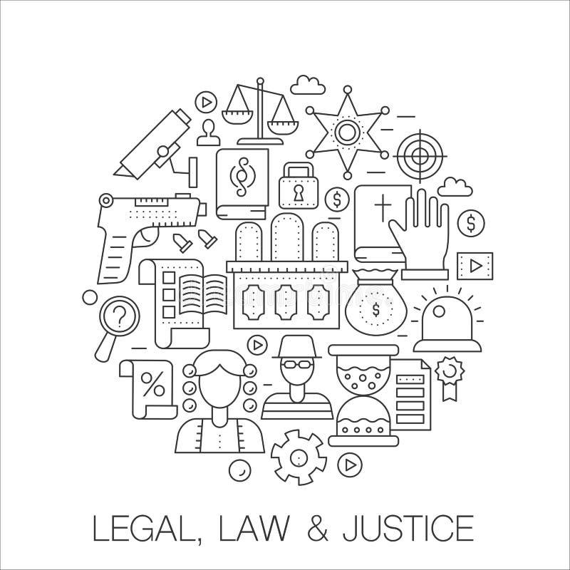 法律,法律和正义在圈子-概念线例证盖子的,象征,徽章 稀薄的线被设置的冲程象 向量例证