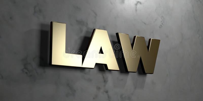法律-在光滑的大理石墙壁登上的金标志- 3D回报了皇族自由储蓄例证 向量例证