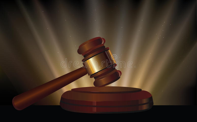 法律 木法院锤子 发出光线背景 听众 向量例证