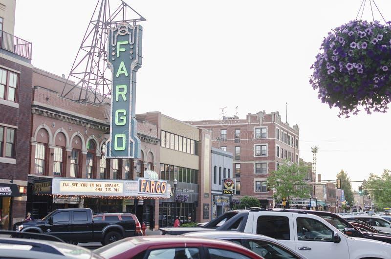 法戈剧院在街市法戈,北达科他 免版税库存照片