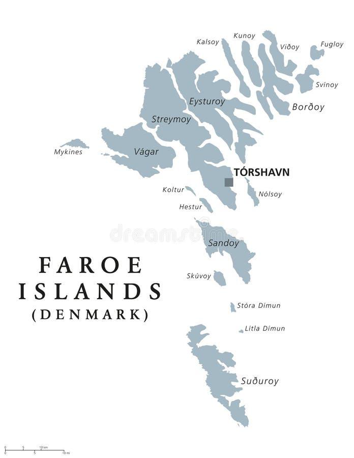 法罗群岛政治地图 库存例证