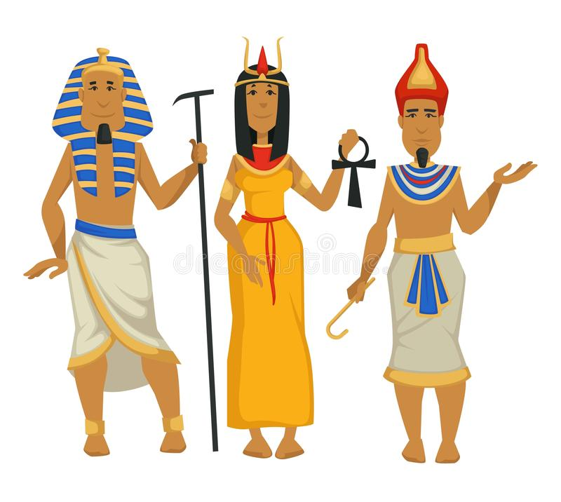 法老王和帕特拉埃及国王和女王/王后被隔绝的男性和女性角色 向量例证
