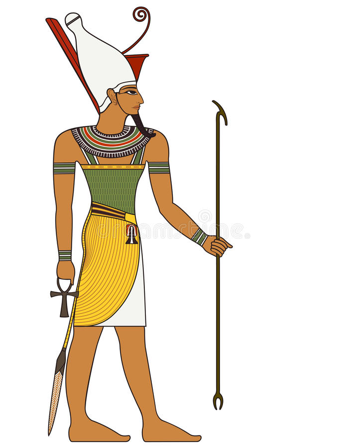 法老王,古埃及神图  库存例证