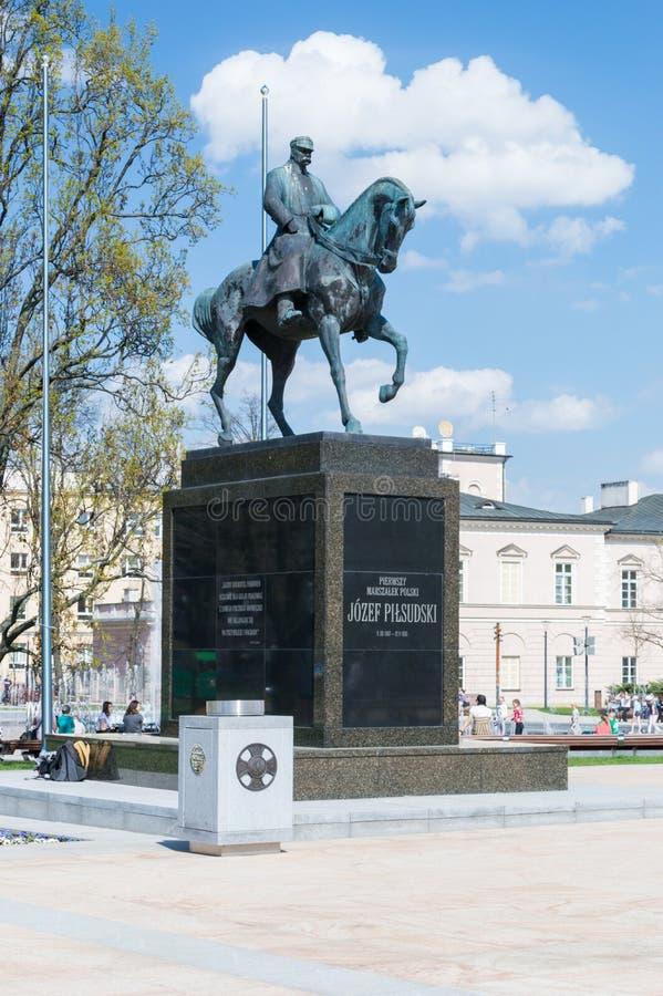 法警马的约瑟夫Pilsudski的纪念碑 免版税库存照片