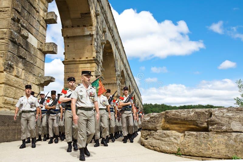 法语外国军队。 Pont du Gard 免版税库存图片