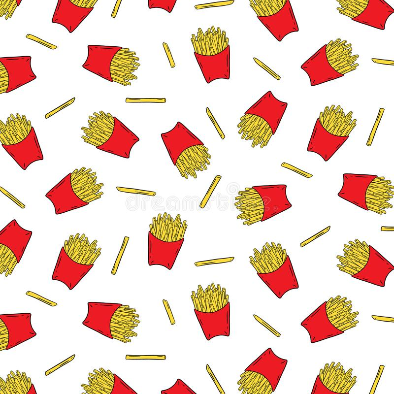法语的手拉的传染媒介例证油煎了在纸箱样式的土豆在白色背景 抽象墙纸 皇族释放例证