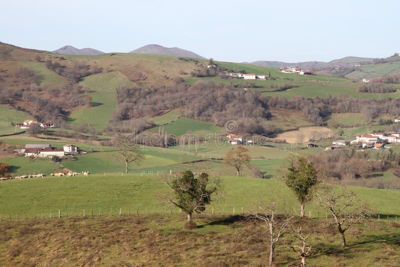法语巴斯克地区在冬天 库存照片