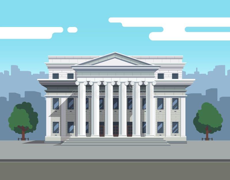 法院、银行或者大学正面图  向量例证