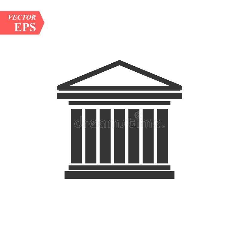 法院象传染媒介,被填装的平的标志,在白色隔绝的坚实图表 历史修造的标志,商标例证eps10 皇族释放例证