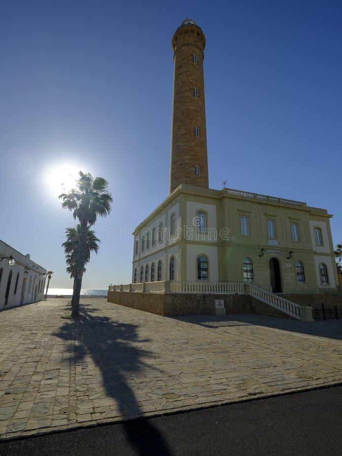 法鲁de奇皮奥纳,lightouse在奇皮奥纳,卡迪士,安达卢西亚,西班牙 免版税库存照片