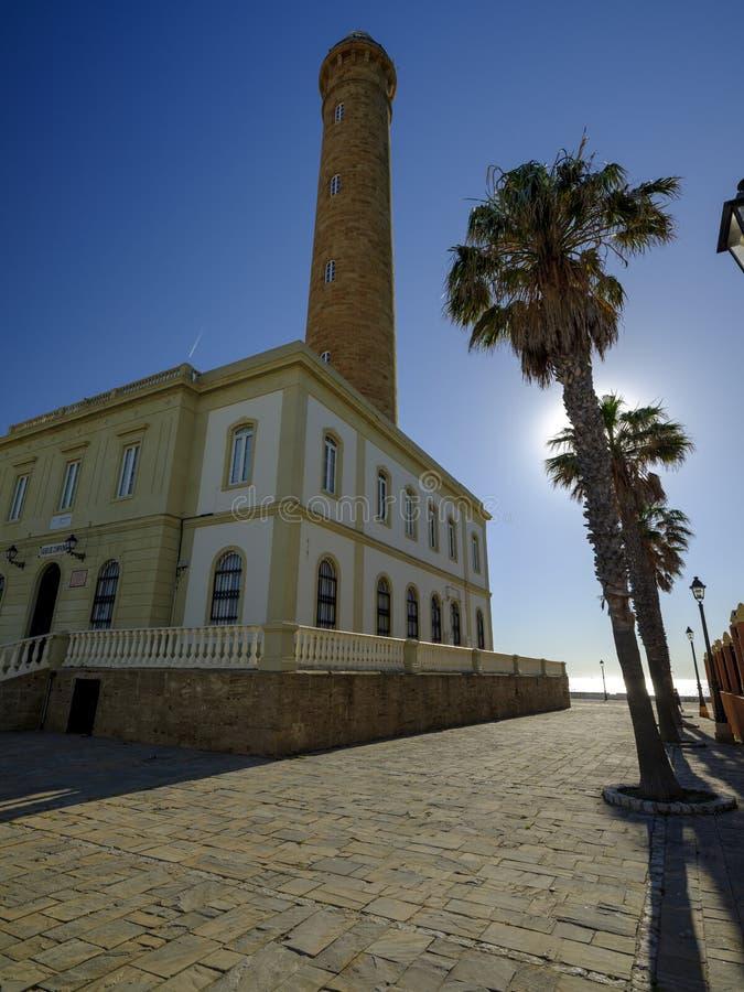 法鲁de奇皮奥纳,lightouse在奇皮奥纳,卡迪士,安达卢西亚,西班牙 免版税图库摄影