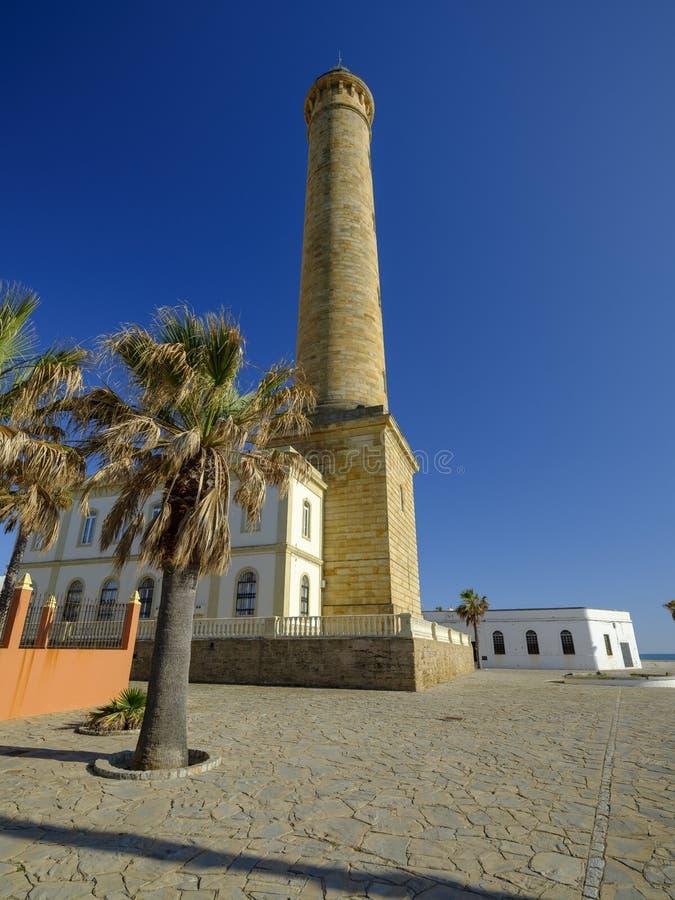 法鲁de奇皮奥纳,lightouse在奇皮奥纳,卡迪士,安达卢西亚,西班牙 免版税库存图片