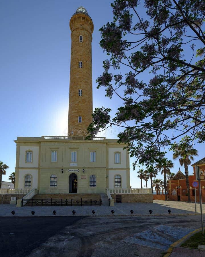 法鲁de奇皮奥纳,lightouse在奇皮奥纳,卡迪士,安达卢西亚,西班牙 库存照片