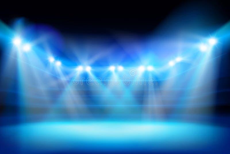 泛光灯照亮的体育场 也corel凹道例证向量 向量例证
