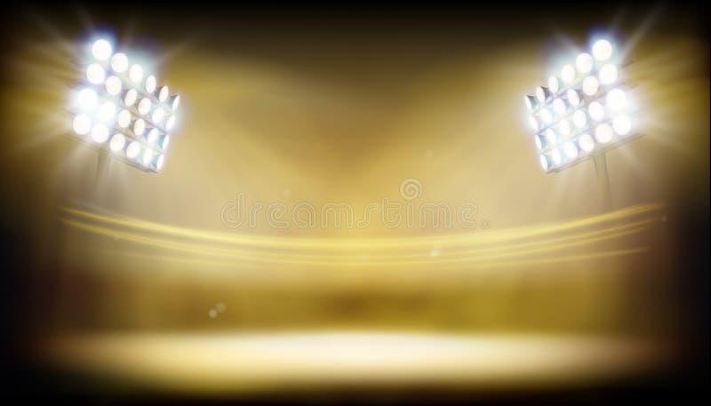 泛光灯照亮的体育场 抽象向量例证 向量例证