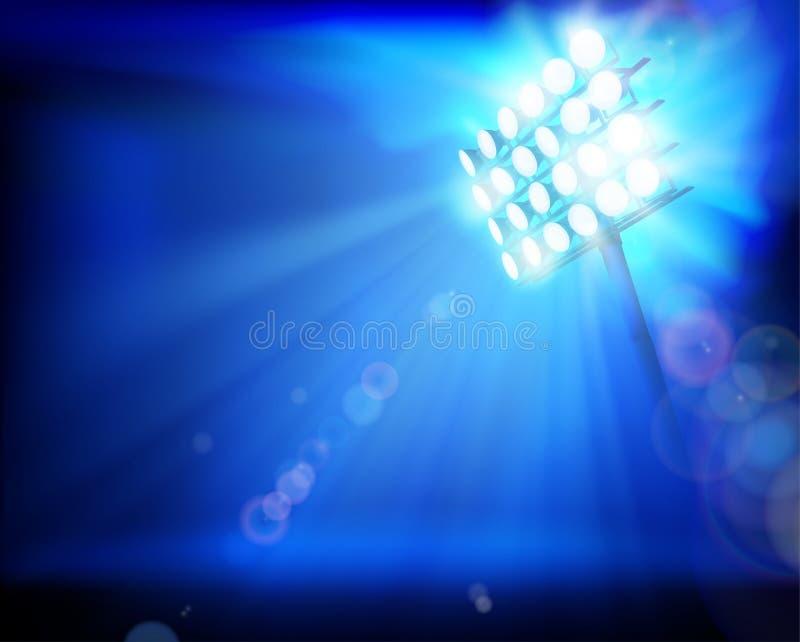 泛光灯照亮的体育场 抽象向量例证 皇族释放例证