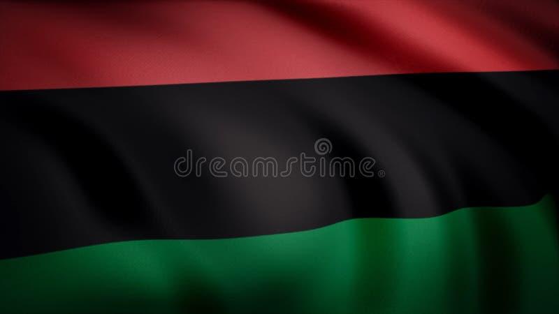 泛非旗子 包括三相等的水平的条纹红色黑绿色旗子 详细缎的动画 向量例证