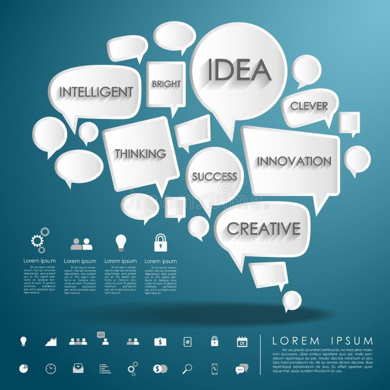 泡影与企业象的谈话脑子 向量例证