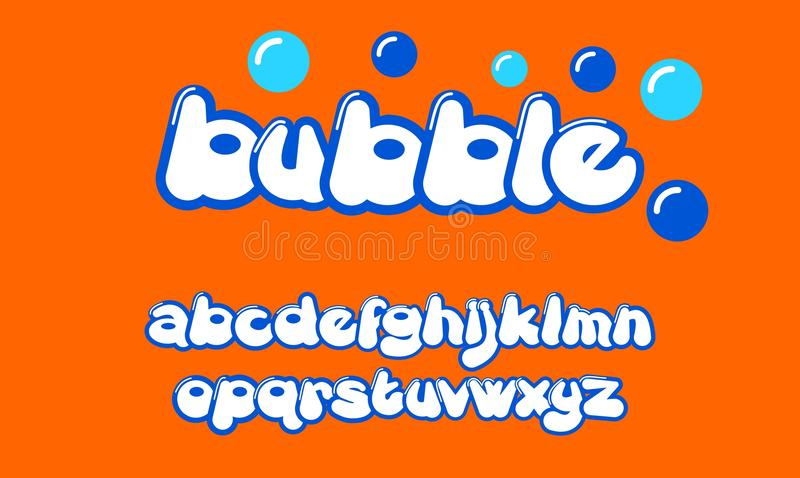 泡影五颜六色的风格化字体 库存例证