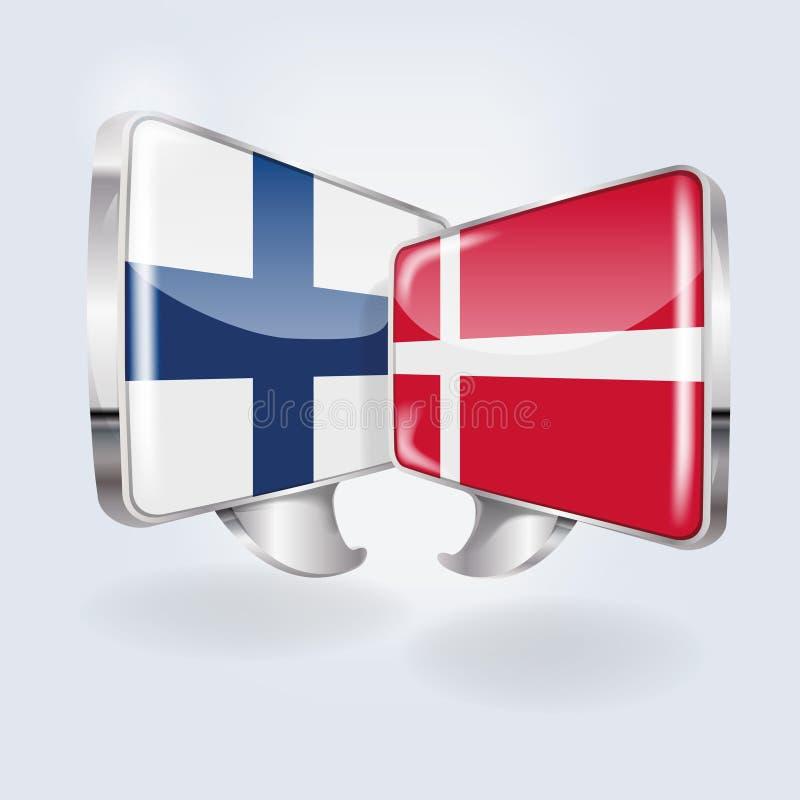 泡影和讲话在芬兰语和丹麦语 向量例证