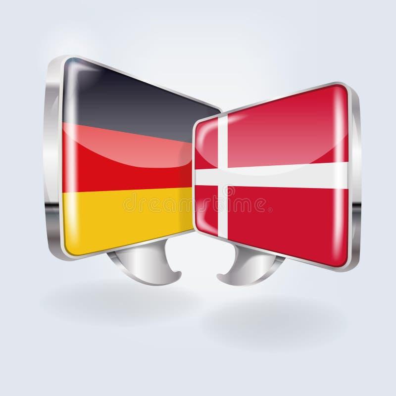 泡影和讲话用德语和丹麦语 皇族释放例证