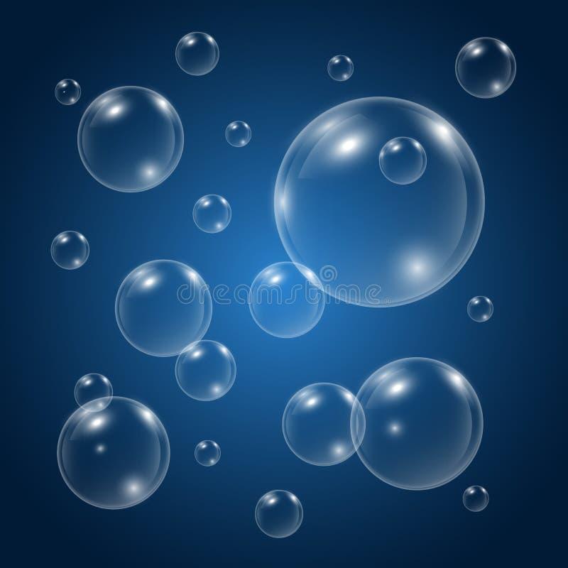 泡影在蓝色背景的水中 泡影向量水 水下的发嘶嘶声的气泡 肥皂发光的泡影纹理 皇族释放例证
