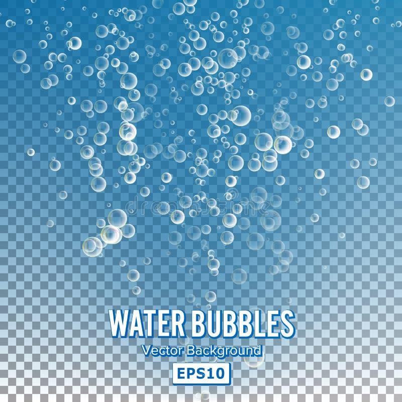 泡影在透明背景的水中 光滑的现实泡影和透亮水色泡影例证 库存例证