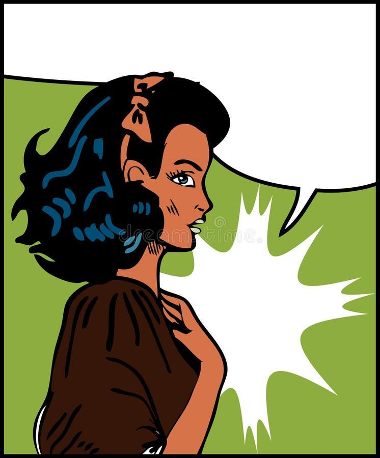 泡影漫画女孩演讲 向量例证