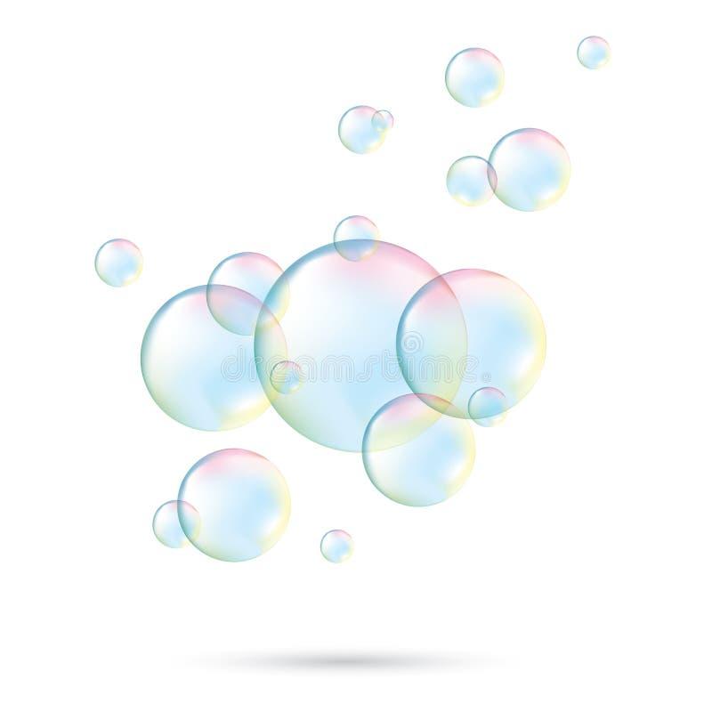 泡影用肥皂擦洗透明 起泡可实现的肥皂 彩虹反射肥皂泡 查出的向量例证 皇族释放例证
