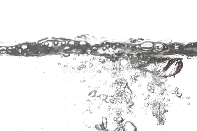 泡影空气在水中隔绝有白色背景 免版税图库摄影