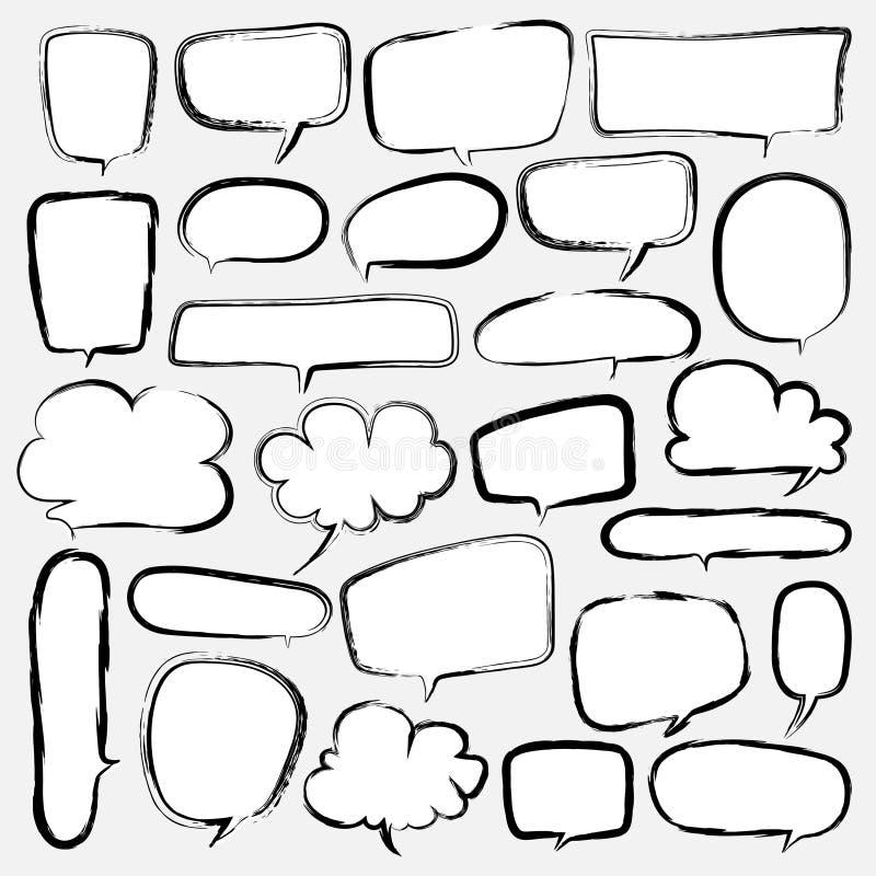泡影设置了乱画样式可笑的气球,云彩形状的设计元素 向量例证