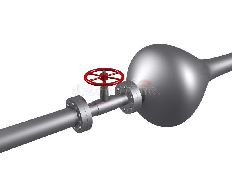 泡影闭合的输油管红色钢阀门 库存例证