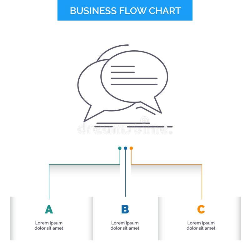 泡影,闲谈,通信,讲话,谈话企业与3步的流程图设计 r 向量例证