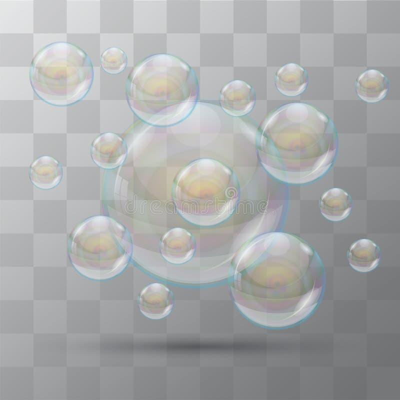泡影 泡沫肥皂 在透明背景的有些泡影 泡影向量 皇族释放例证