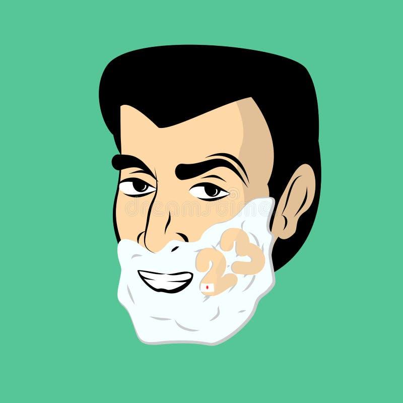 泡沫人刮 人刮脸 在面孔的第23 向量例证