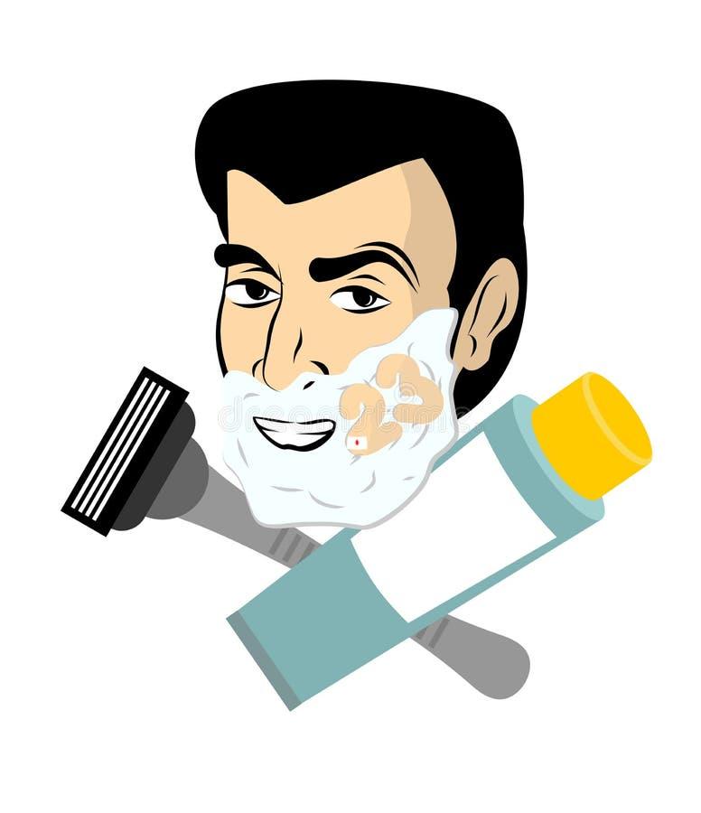 泡沫人刮 刮胶凝体的剃刀和管 人刮脸 n 库存例证