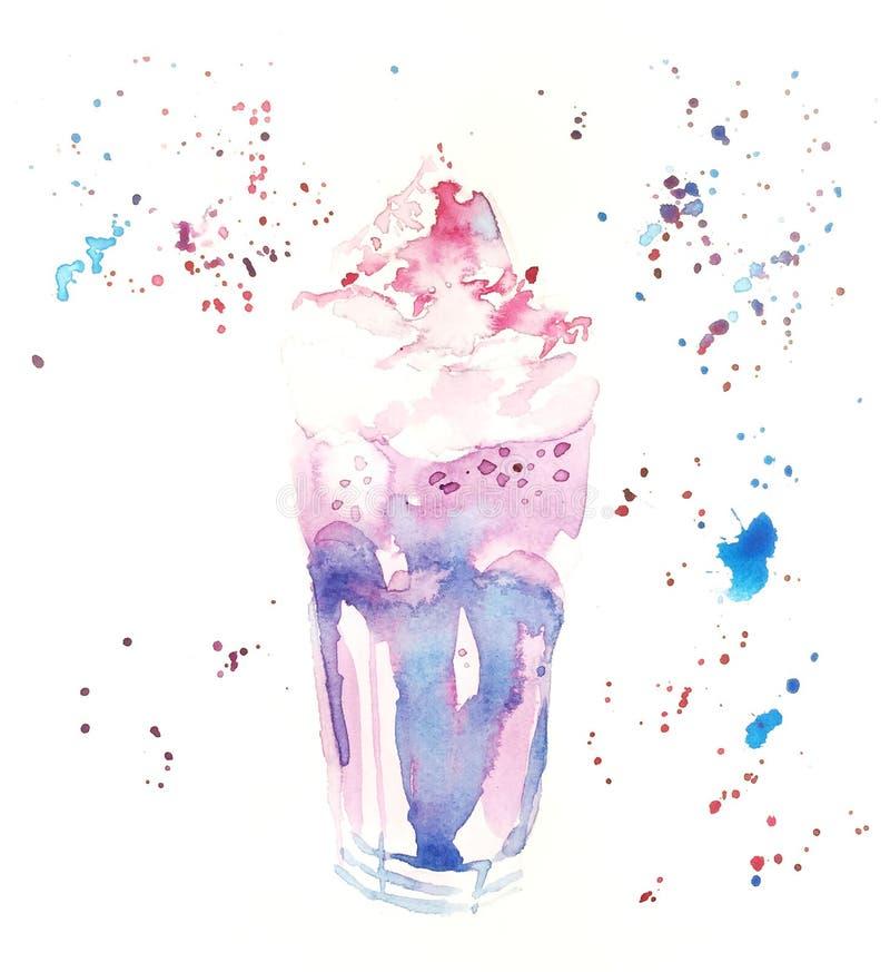 泡沫口香糖奶昔桃红色和蓝色水彩例证 库存例证