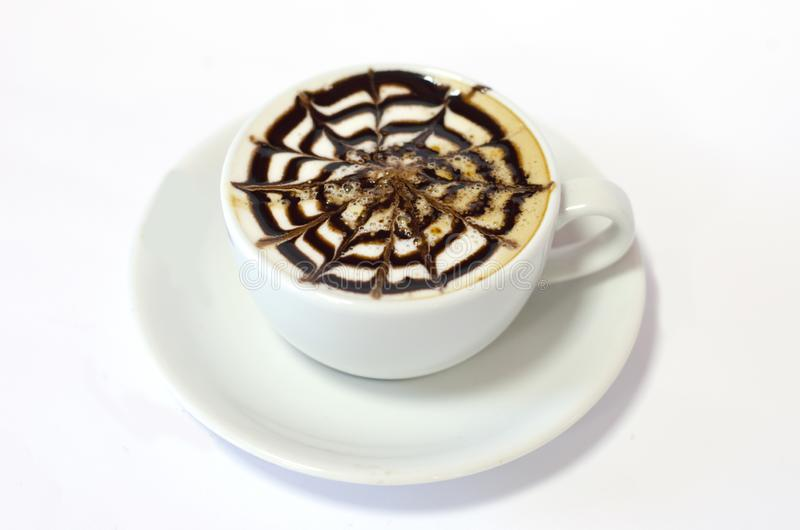 泡沫咖啡白色背景 库存照片