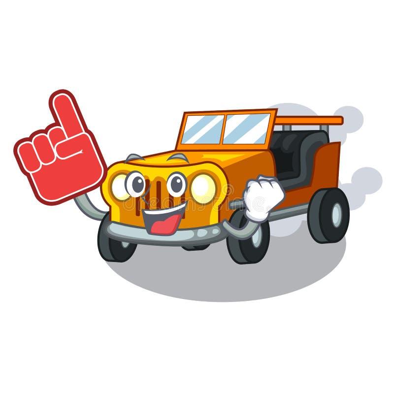 泡沫手指吉普在前面赦免的动画片汽车 向量例证