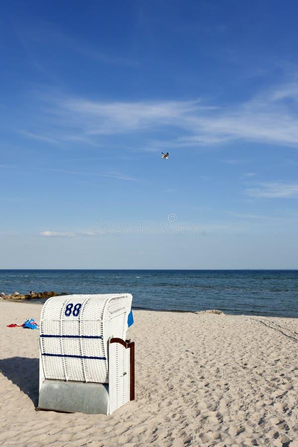 波儿地克的海滩睡椅海岸海运 免版税库存照片
