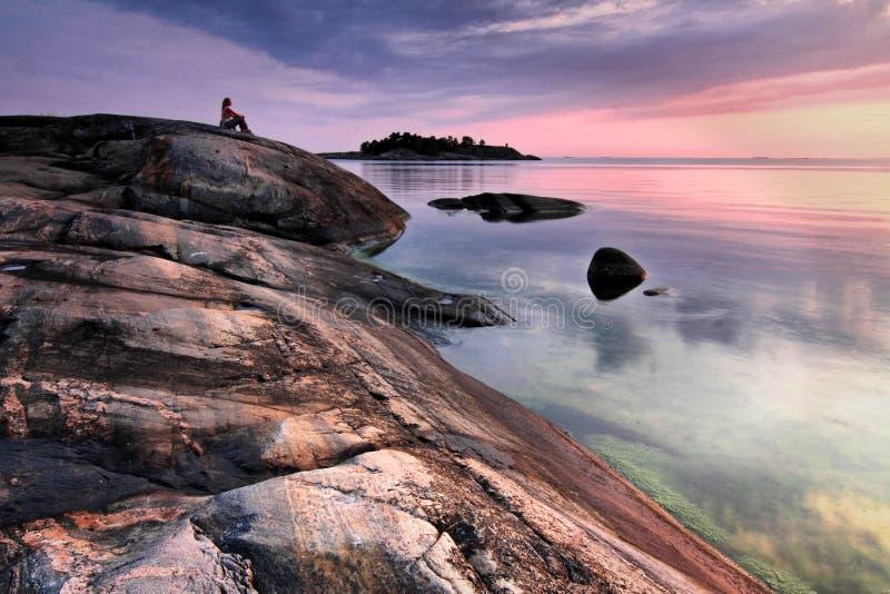 波儿地克的芬兰海运日落 免版税库存照片