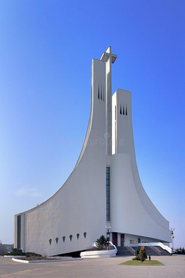 波兰东南部Mielec Pisarka街现代主义罗马天主教圣灵教堂 库存图片