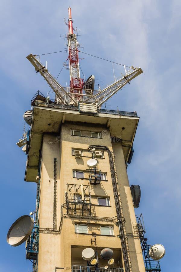 波兰人电视的广播塔 库存照片