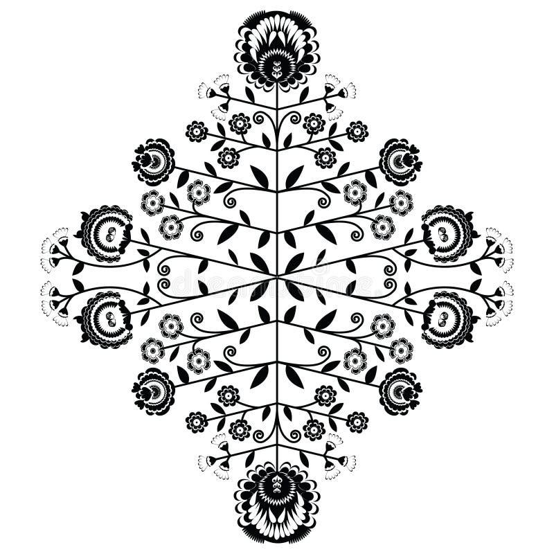 波兰伙计启发了在白色背景的花卉黑样式 皇族释放例证