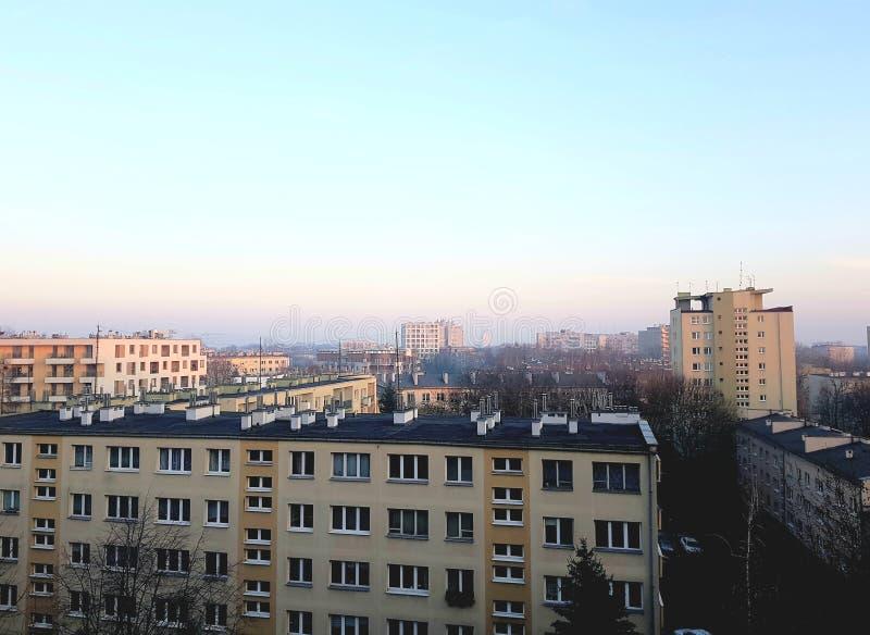 波兰克拉科市雾霾 库存图片