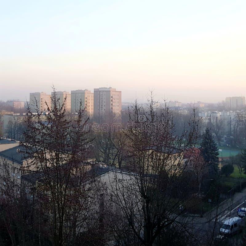 波兰克拉科市雾霾 库存照片