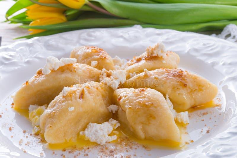 波兰凝乳饺子 库存图片